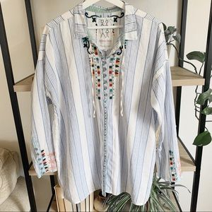 Johnny Was Embroidered Pinstripe Button Down Shirt